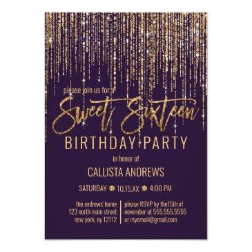 Small Plum Purple Gold Glitter Fringe Curtain Sweet 16 Invitation Front View