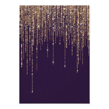 Small Plum Purple Gold Glitter Fringe Curtain Sweet 16 Invitation Back View