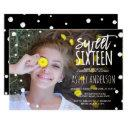 polka dots watercolor typography photo sweet 16 invitations