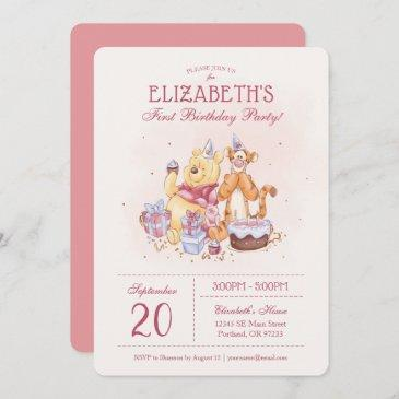 pooh & friends watercolor | first birthday invitation