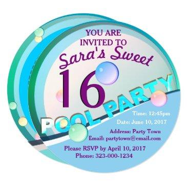 pool party sweet 16 birtday invitation