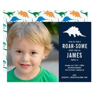 preppy dinosaur silhouette birthday party photo invitations