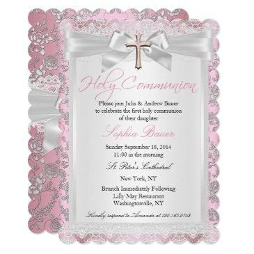 pretty bow cross first communion pink