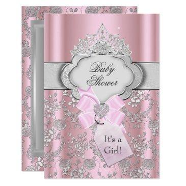 pretty bow tiara princess baby shower invitations