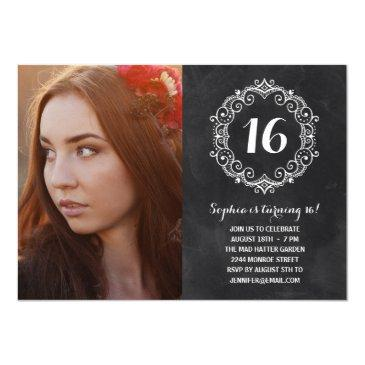 pretty chalkboard | photo sweet sixteen birthday invitation