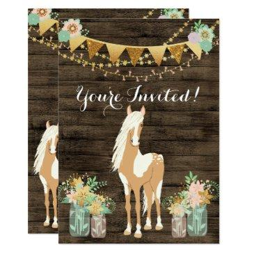 pretty horse and flowers on rustic wood birthday