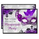 pretty mask & damask purple masquerade sweet 16 invitation
