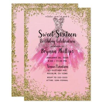 pretty pink gold glitter party dress sweet 16 invitation
