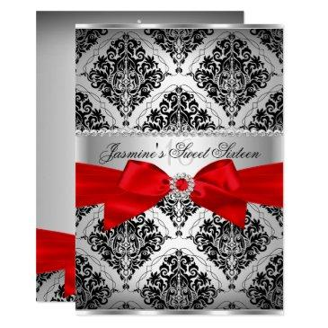 pretty red black damask sweet 16
