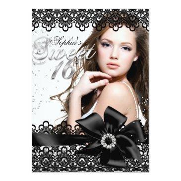 Small Pretty Silver Black Lace Photo Sweet 16 Invite Front View