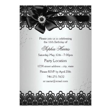 Small Pretty Silver Black Lace Photo Sweet 16 Invite Back View