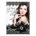 pretty silver black lace photo sweet 16 invite