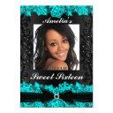 pretty teal & black lace photo sweet 16 invite