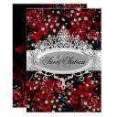 pretty tiara & sparkle flowers red sweet 16 invitation