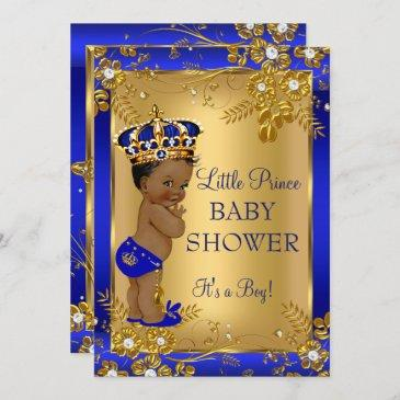 prince boy baby shower gold blue african american invitation