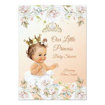 Small Princess Baby Shower Coral Peach White Invitation Front View