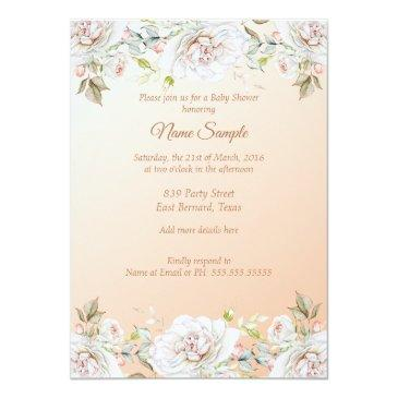 Small Princess Baby Shower Coral Peach White Invitation Back View