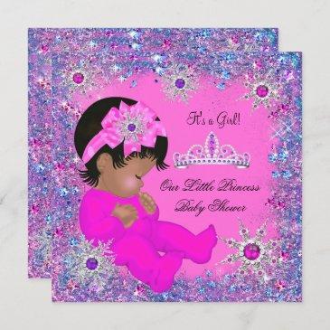 princess baby shower purple pink glitter ethnic invitation