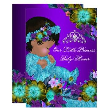 princess baby shower teal blue purple girl invite
