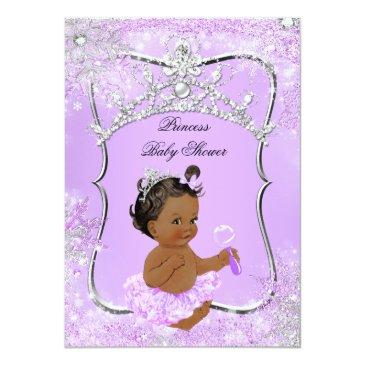 Small Princess Baby Shower Wonderland Lilac Ethnic Invitation Front View