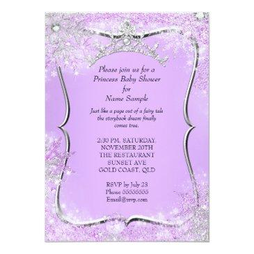 Small Princess Baby Shower Wonderland Lilac Ethnic Invitation Back View