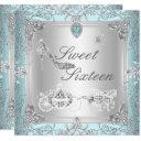 princess elegant diamond teal sweet 16 sixteen invitation