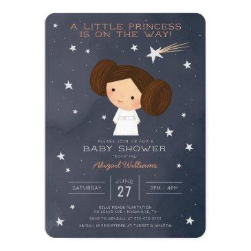 Small Princess Leia | Watercolor Baby Shower Invitation Front View