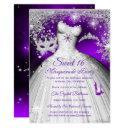 princess masquerade sweet 16 purple silver party invitation