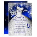 princess masquerade sweet 16 royal blue silver invitation