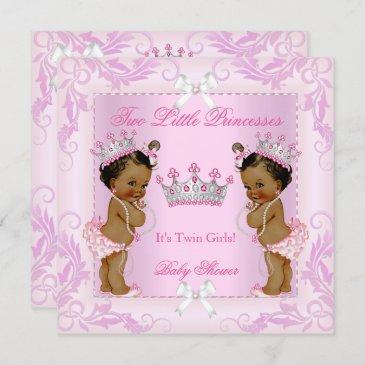 princess pink pearls twin baby shower tiara ethnic invitation