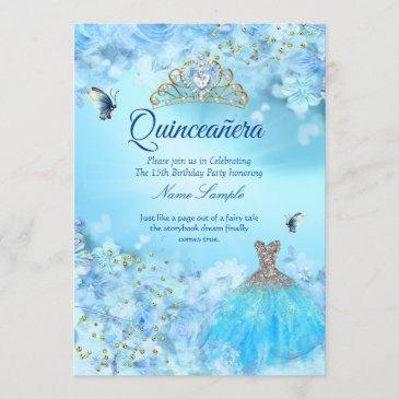 princess quinceanera cinderella blue floral dress invitation