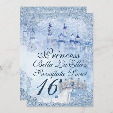 princess snowflake sweet 16 mis quince invitation