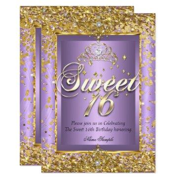princess sweet 16 gold lavender purple party invitation