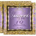 princess sweet 16 gold lilac purple party invitations