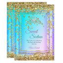 princess sweet 16 gold teal purple party invitation