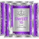 princess sweet 16 purple silver shoes invitation