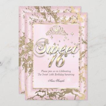 princess sweet 16 sepia gold blush pink party invitation