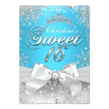 Small Princess Winter Wonderland Blue Sweet 16 Invite Front View