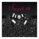 printed black sequins, bow & diamond pink sweet 16 invitation