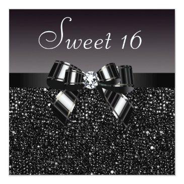 Small Printed Black Sequins, Bow & Diamond Sweet 16 Invitations Front View