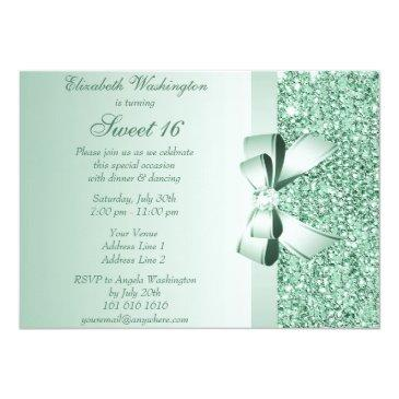 Small Printed Mint Green Sequins, Bow & Diamond Sweet 16 Invitations Back View