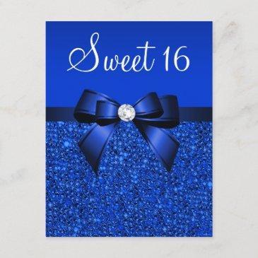printed royal blue sequins, bow & diamond sweet 16 invitation