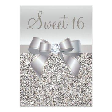 Small Printed Silver Sequins, Bow & Diamond Sweet 16 Invitations Front View