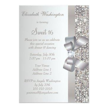 Small Printed Silver Sequins, Bow & Diamond Sweet 16 Invitations Back View