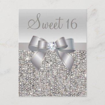 printed silver sequins, bow & diamond sweet 16 invitation