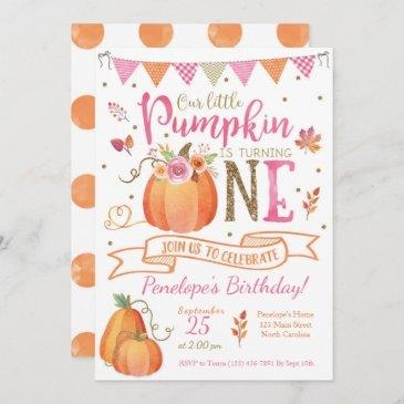 pumpkin first birthday invitation, autumn fall invitation