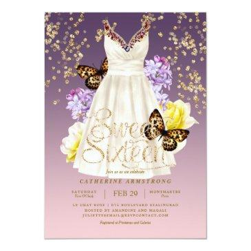 Small Puple Pink Gold Glitter Dress Roses Sweet Sixteen Invitation Front View