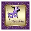 purple and gold sweet sixteen masquerade party invitation