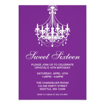Small Purple And White Chandelier Sweet Sixteen Birthday Invitations Front View