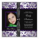 purple black damask photo sweet 16 party invitation